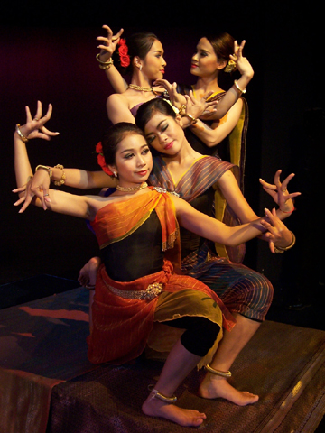 Mot Pharan and Sao Phirom (front left to right), and Noun Kaza and Chao Socheata (back left to right) of the Khmer Arts Ensemble in 'Shir Ha-Shirim.' Photo courtesy of Khmer Arts Ensemble.