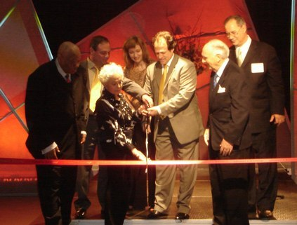 Ribbon cutting featuring Rick Schussel, the Executive Director of NDG, dancers Marge Champion and Donald Saddler, and NDG board members.
