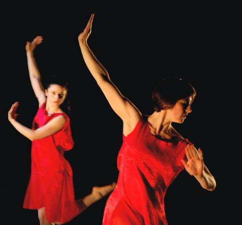 Rebecca Warner (l) and Meghan Merrill (r) of the Neta Dance Company perform 'Air'
