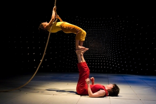 The LAVA dance company perform their show 'We Become' in a dress rehearsal at the Brooklyn Lyceum in Brooklyn on February 11, 2009. Pictured here are Molly Chanoff, top, and Lollo.