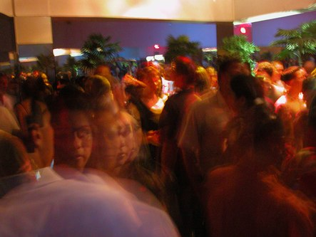 Packed dance floor in motion