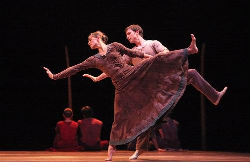 Houston Ballet's program: Of An Era Ballet: Jardi Tancat choreographed by Nacho Duato Dancers: Kelly Myernick and Ian Casady