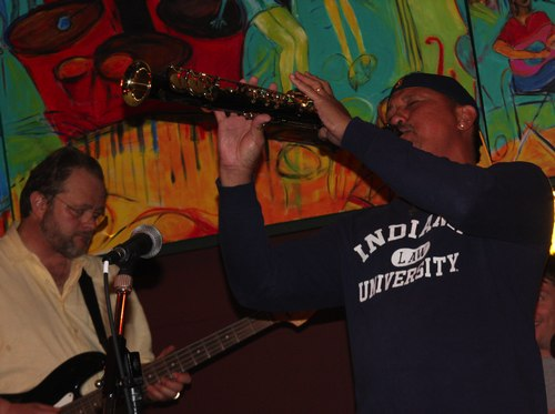 David Baas (at left) and Nelson Batalon (on the right) - musicians on Blues Jam night at The Pub