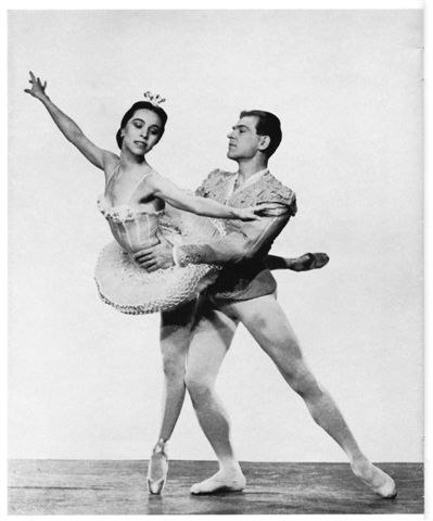 Tallchief as first NYCB 'Sugar Plum Fairy' with Eglevsky in rehearsal. Eglevsky was injured and Nicholas Magallanes danced the first program.