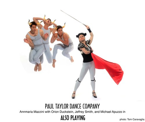 Annmaria Mazzini with Orion Duckstein, Jeffrey Smith and Michael Apuzzo in the Paul Taylor Dance Company's 'Also Playing'