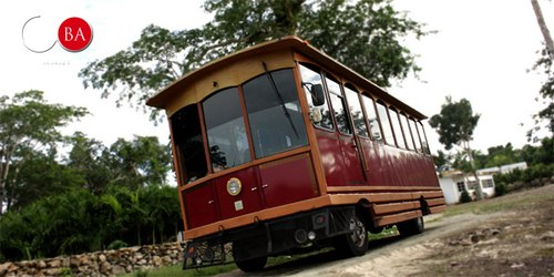 The Mayan Express uses a rolling trolley for transportation