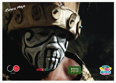 A close-up shows a dancer's make-up and headgear Logos courtesy of the Mexican tourism industry